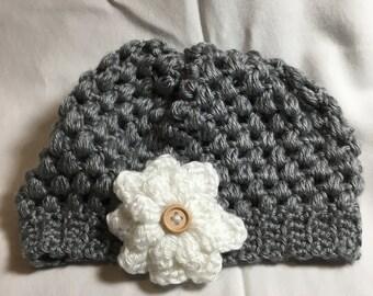 Baby Girl Flower Hat, Hand Crocheted