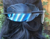Leather Jay Feather Hair Barrette with wooden stick and silver feather charm