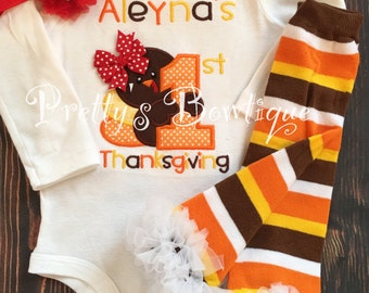 Girls Thanksgiving outfit -- 1st Thanksgiving Shirt or One piece, Ruffle Pants, headband -- Girls Thanksgiving outfit-- Turkey Shirt