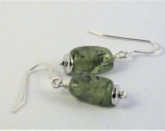 Chunky green prehnite earrings
