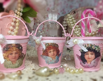 3 Pink Victorian Angels Mini Tins Pails Buckets Christmas Tree Ornament Table Centerpieces Decorations Shabby Chic Decor Candle Holder Gift