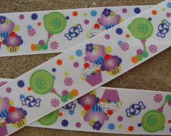 "3 yards purple Cupcake ribbon 1"" Birthday cupcake ribbon candy hair bow ribbon party ribbon Printed Ribbon"