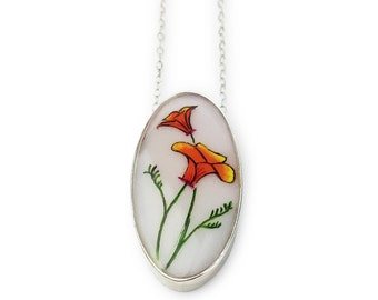 California Poppy Oval Necklace set in Sterling Silver