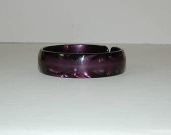 Vintage Plum Pearloid Cuff Bracelet