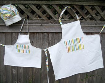 Matching Mother/ Daughter/Grandmother   Aprons and  Childs Chef Hat