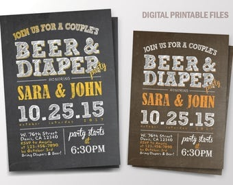 Beer and Diaper Party, Baby Shower, Couples Shower Invitation / DIY / Chalkboard