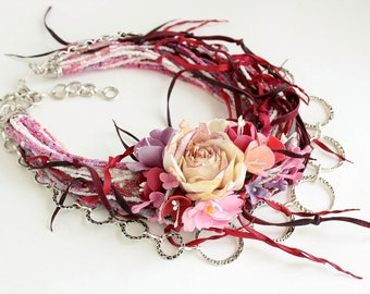 Handmade cherry necklace with flower