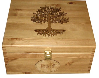 Rustic Pine Large Wooden Keepsake Memory Storage Box with Tree of Life - Personalised
