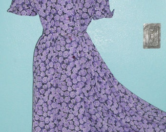"""Sale-All Clothing! See Shop Announcement — 1960s """"Penney's"""" Nylon Jersey Day Dress —  Floral Print — Size Large, 12-14"""