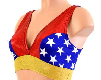Wonder Woman Inspired Red & Blue Star w/Gold Band Starlette Bralette Spandex Rave Festival Clubwear Pride Parade - 154424