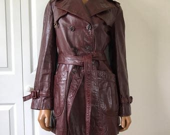 Etienne Aigner Oxblood Leather Pea Coat Jacket Maroon Supple Leather XS/S