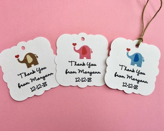 Baby shower favor tags, Baby Elephant gift tags, Personalized custom tags, Thank you tags baby shower, Baby shower gift tags, Gender neutral