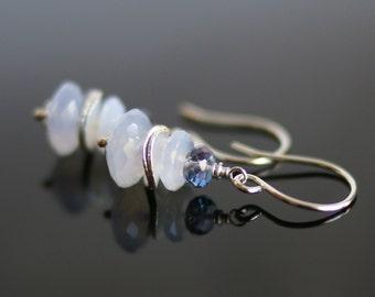 Chalcedony earrings, Blue mystic quartz earrings, Chalcedony jewelry gift for her, Blue Mystic quartz jewelry, silver French hook ear wires