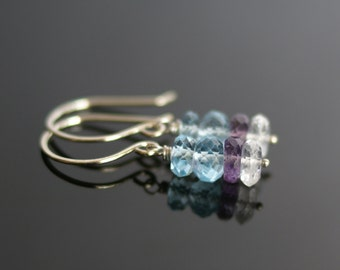 Swiss Blue topaz earrings, natural crystal earrings, amethyst earrings, Swiss Blue topaz gift, amethyst jewelry, December  birthstone