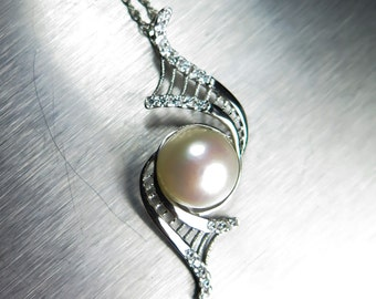 Natural Freshwater pearl cream white 10mm round button Sterling 925 Silver Pendant necklace 35x15mm, Chain is included