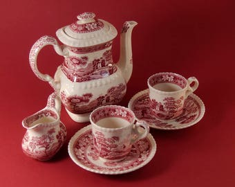 """beautiful Mokka - set """"Spode Tower"""" for two persons with creamer"""