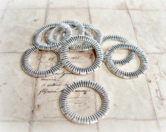 6 Antique Silver 23 mm Closed Jump Ring Hoop Connector Line Pattern