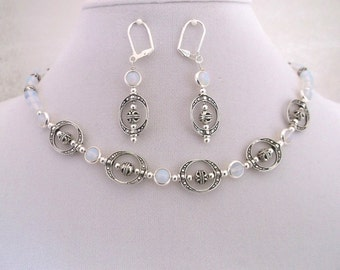 Opalite & Silver 17 inch Necklace and Earrings Set.