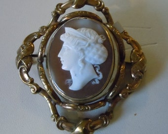 Victorian reversible Cameo Woven Hair Brooch Very mint the cameo is outstanding