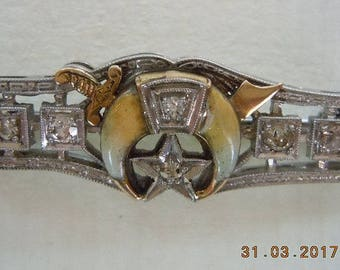 SCHREINER'S White Gold Diamond Bar/pin/brooch.  Unique - Rare