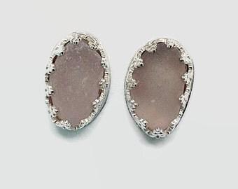 Lilac Sea Glass Studs Bezel Set in Sterling Silver, Beach Glass Post Earrings, Mermaids Tears