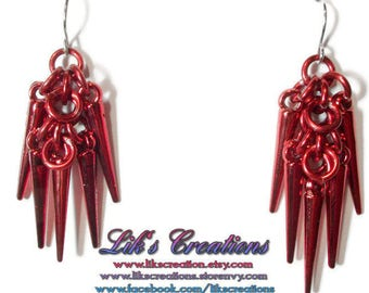 Shaggy Spikes Chainmaille Earrings - acrylic spikes - choose your colors!