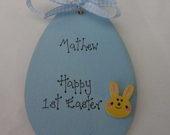 1st first easter personalised wooden egg blue