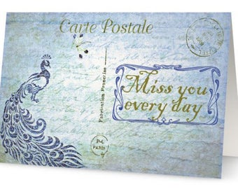 "Missing you greeting card, miss you vintage French postcard, miss you every day in every way quote, peacock, antique script, 5"" x 7"""