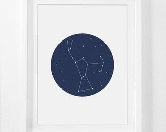 Orion, Constellation, Orion Art Print, Blue Nursery, Constellation Print, Orion Constellation, Navy Nursery, Navy Blue, Digital Nursery Art