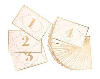 Wedding Reception Table Number - Gold Foil - Geometric - Modern - Elegant