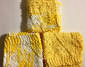 Set of 3 Large Knitted Dish Cloths - Yellow & White