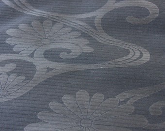 Black Obi fabric/Chrysanthemum/ Summer obi fabric/  Vintage Japanese silk fabric