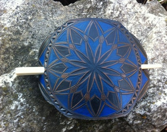 Blue geometrical hand carved hair barrette - hair accessories