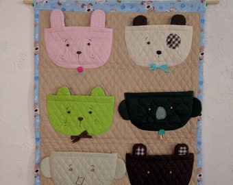Hanging Wall Pockets for baby shoes, 6 pockets