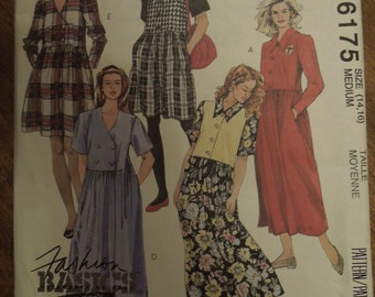 McCalls 6175, sizes 14-16, dresses, double or single breasted, UNCUT sewing pattern, craft supplies