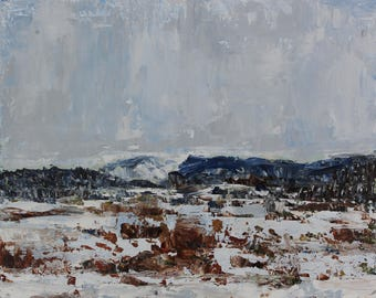 Snow on Martis- Palette Knife Oil Painting