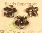 18 mm x 5 mm Antique Copper Flower Bead Cap - Nickel Free, Lead Free and Cadmium Free - 10 pcs