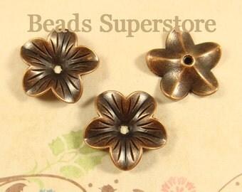 SALE 18 mm x 5 mm Antique Copper Flower Bead Cap - Nickel Free, Lead Free and Cadmium Free - 10 pcs