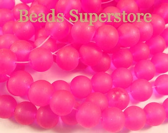 SALE CLOSEOUT 10 mm Magenta Frosted Round Glass Bead - 24 pcs