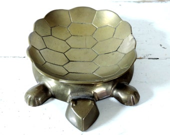 French Vintage Brass Turtle/ Vintage Turtle Trinket Dish/Vintage Brass Turtle/Vintage Ring Dish/Vintage Turtle Ashtray/Brass Turtle Pin Dish