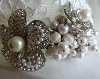 Vintage silver and diamante, pearl and lace bridal tiara. Wedding hair band.