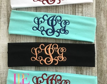 Ladies & Girls Stretchy Cotton Monogrammed Headband