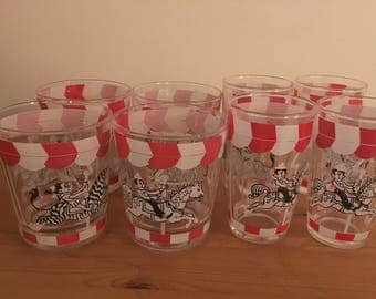 Vintage Drinking Glasses Carousel Red White Set of 8