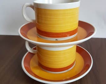 Gefle Stina coffee cup + saucer. Orange yellow retro pattern. 2 coffee cups with saucers.