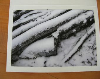 Photo Note Cards Set of 6 Series Winter Snow Black and White Handmade  PanchosPorch