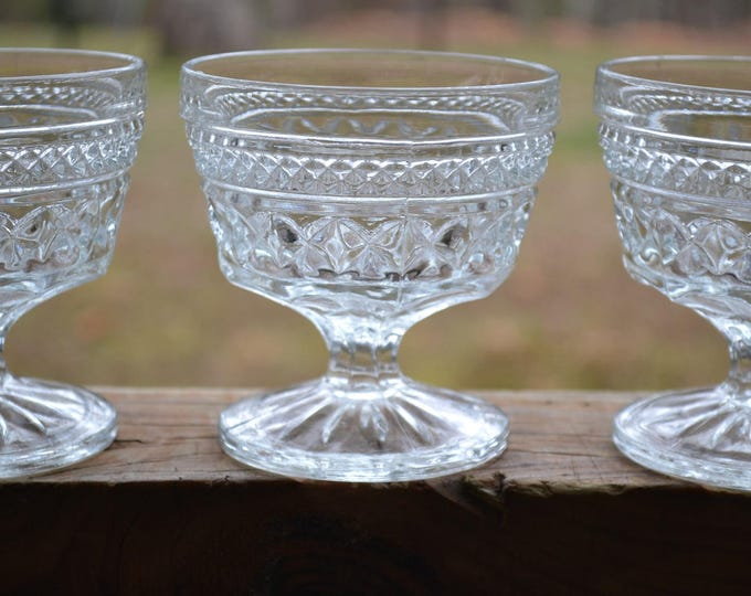 Vintage Wexford Sherbet Cup Glass Set of 3 Anchor Hocking Diamond Dessert Bowl PanchosPorch