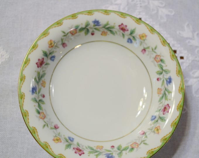 Vintage Noritake Elmhurst Soup Bowl Coupe Replacement Green Edge Pink Blue Yellow Flowers Japan Pattern 5202 PanchosPorch