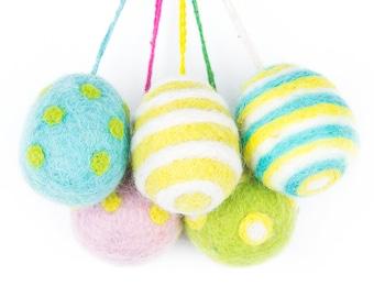 Easter Eggs (Bag of 5) - Needle Felted Decorations - Felt - Baby Shower - Handmade Wool - Farmyard Decoration - Ethical