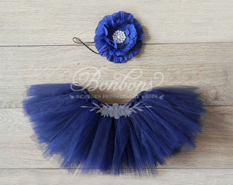 Newborn Tutu and Headband Set Navy Royal Blue Tutu Baby Tutu Photography Prop Tutu Blue and Pearl Prop Set Newborn Tutu RTS Ready to Ship