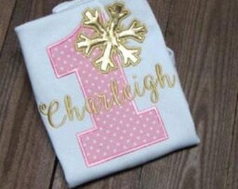 Pink and gold snowflake birthday shirt- embroidered Winter ONEderland Birthday Shirt Personalized Birthday Shirt 1st Birthday Shirt